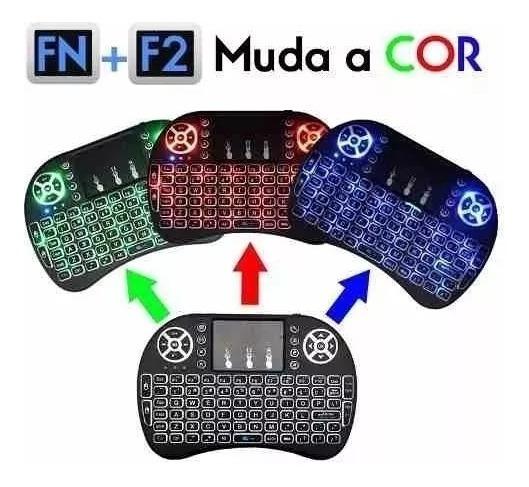 1mini Teclado Air Mouse Touch Sem Fio Tv Box Wireles Com Luz