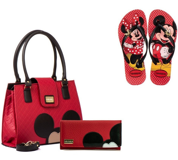Kit Bolsas Feminina Com Carteira + Chinelo Mickey Minnie