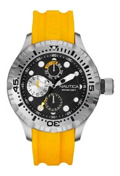 Relógio De Pulso Nautica Masculino Borracha Amarelo A15107g