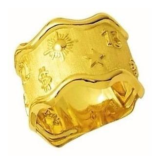 Anel Aliança Sorte Maciço 1.5 Cm Ouro 18k Mistico Supertiçao