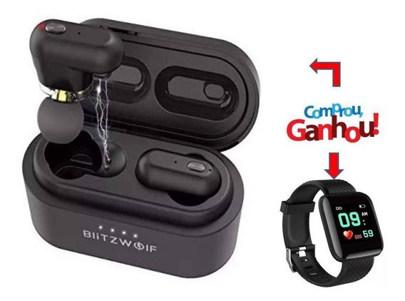 Kit Fone Ouvido Blitzwolf Bw Fye7 Bluetooth Brinde Relógio