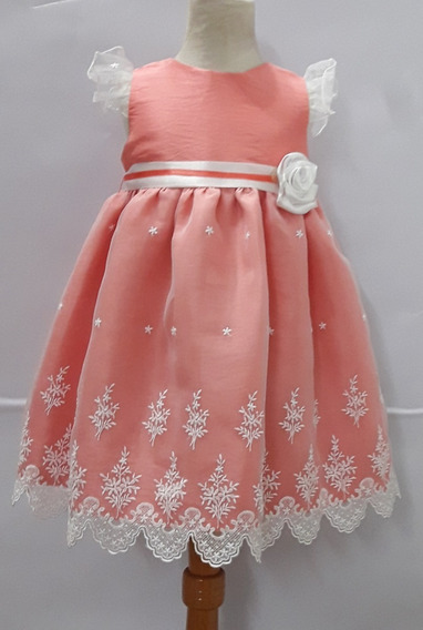 Vestido Coral Organza Bautismo, Fiesta Beba - Cari Bambini