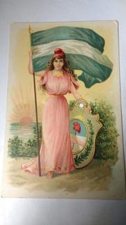 Coleccionistas Postal Antigua Argentina,escudo Bandera 1910