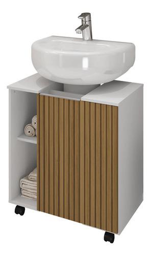 Gabinete Para Banheiro Pequin - Branco/ripado