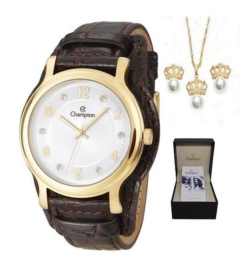 Kit Relógio Champion Feminino Couro Cn20337w Dourado