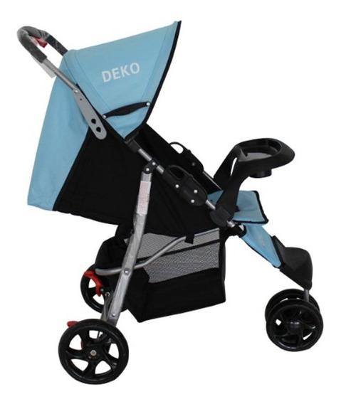 Carrinho De Bebe 3 Rodas Reclinável Azul Com Preto Deko Star