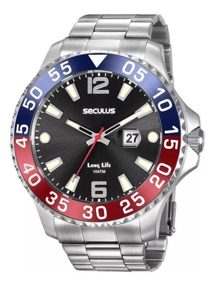 Relógio Seculus Masculino Calendário 20843g0skna1