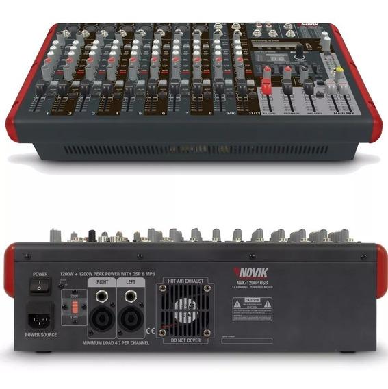 Mesa De Som Amplificada 12 Canais Novik Neo Nvk1200pbt Usb