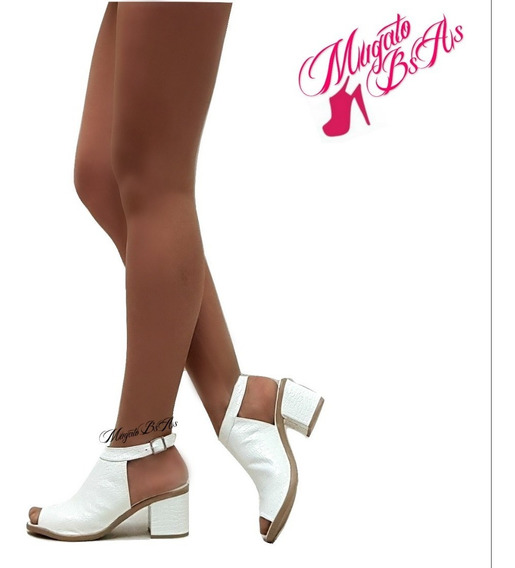 Zapatos Sandalias Mujer Taco 6 Punta Abierta Pulsera Mugato®