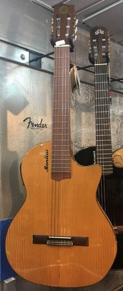 Mantini Ss1 Guitarra Electrocriolla Eq 4b Sin Boca Cedro