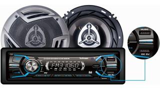 Combo Radio Carro Bluetooth + Parlantes 16 Cm Bowmann