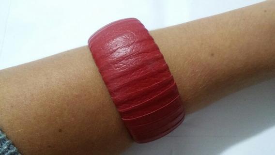 Pulseira Bracelete Gislene Vermelha De Tecido Larga