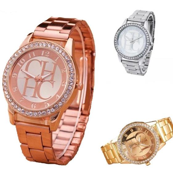Relógio Carolina Herra Ch Dourado Rose Prata Feminino