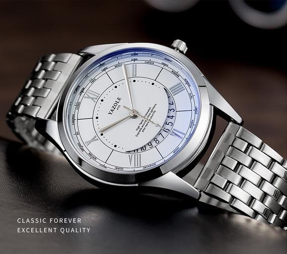 Relógio Masculino Yazole 410® Quartzo Aço + Caixa