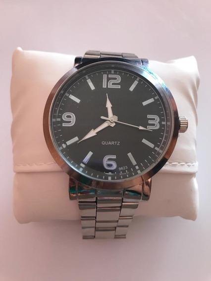 Relógio Masculino Stainless Quartz Prata C/ Preto