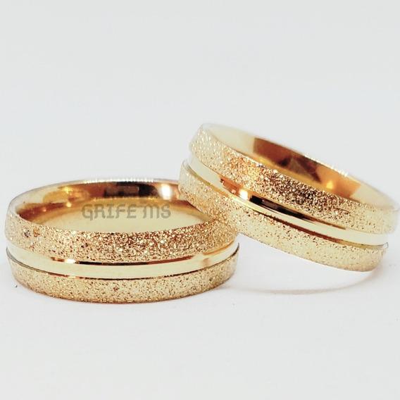 Par Alianças 6mm Casamento Noivado Cor Ouro Ma Frete Gratis