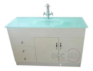 Mueble Vanitorio Cubierta Vidrio Templado 100x46/ Dec-haus