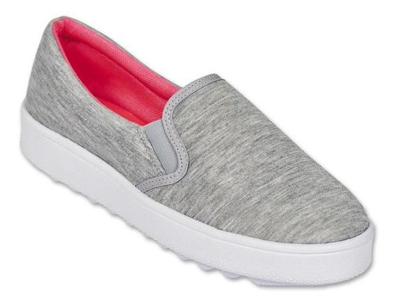 Calzado Dama Mujer Zapato Sneaker Casual Textil Gris Comodo