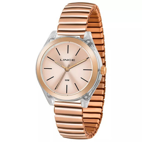 Relógio Feminino Rosê C/ Acrílico Puls Mola Lrr4484p Novo