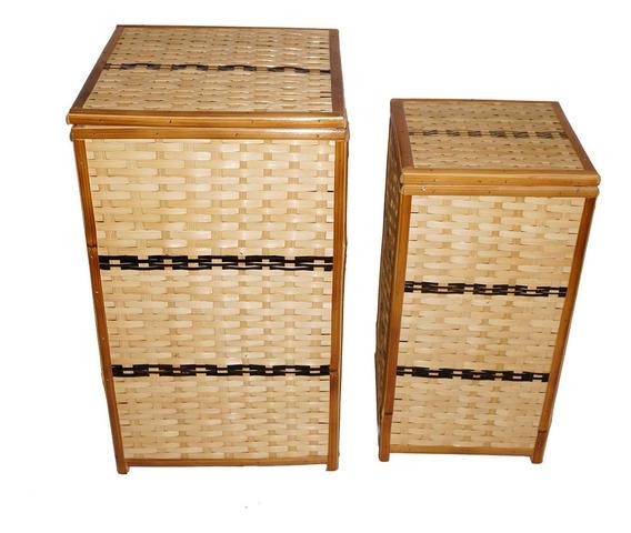 Cestos De Roupas De Bambu Tratado Em Verniz Grande E Medio