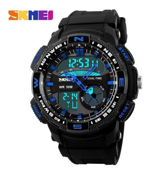 Relógio Masculino Skmei Anadigi 1109 Preto E Azul