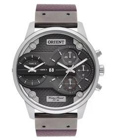 Relógio Orient Masculino Dual Time Black Couro Mysct001 G1mx