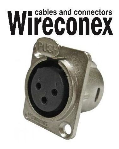 Conector Xlr Femea Painel Wireconex Wc 823/3p