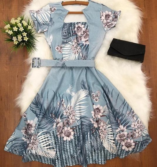 Vestido Femin Midi Godê Rodado Moda Evangèlica