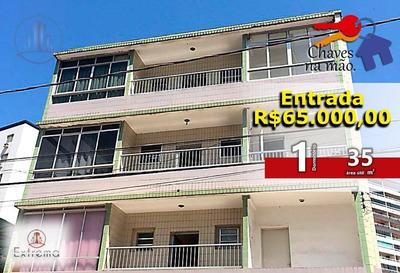 Kitnet Em Praia Grande, R$65.000,00 De Entrada E Chaves Na Mão. - Ap0477