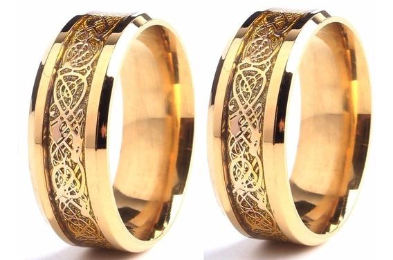 Par De Aliança Dragão Celta Dourado : Aro 15 A 34