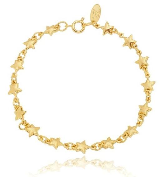Pulseira Estrelas Douradas Antialérgica Folheada A Ouro 18k