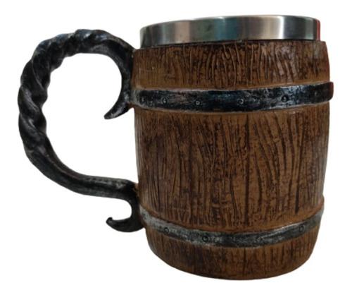 Imagem 1 de 4 de Caneca Barril Medieval Em Resina Inox 400ml - Chopp,cerveja