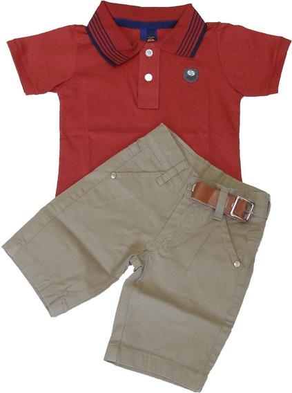 Polo Infantil Masculina Meninos + Shorts Elastano Com Cinto