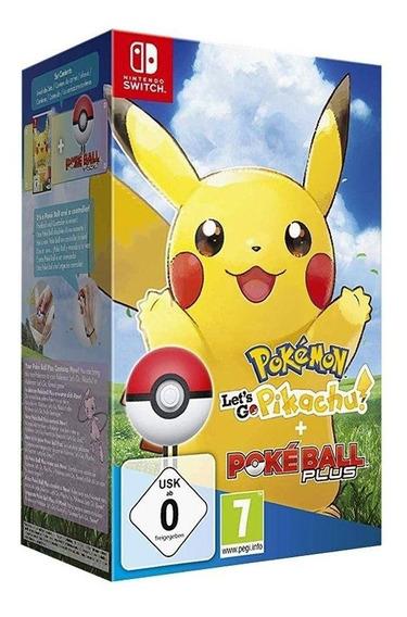 Pokemon Lets Go Pikachu E Pokeball Plus Switch Mídia Física