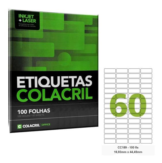 Etiqueta Adesiva Carta Cc189 16,93 X 44,45 100 Fls Colacril