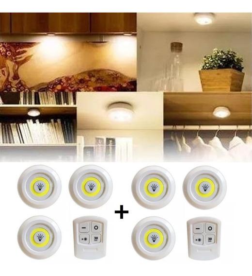 2 Kits C 3 Lampadas Lumin Led Spot S Fio C 2 Controle Remoto