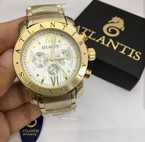 Relógio Original Atlantis Masculino Dourado Fundo Claro