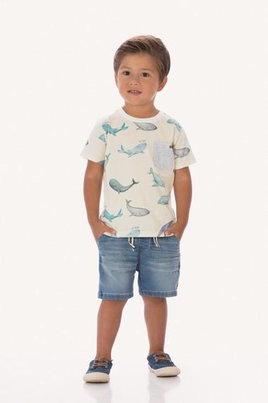 Conjunto Camiseta Baleia Bermuda Jeans Bebe Menino Up Baby