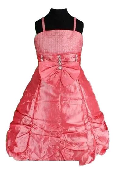 Vestido Infantil Festa Coral Salmão Tam 12 Ou 16