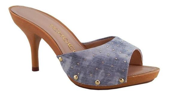 Tamanco Tchocco Feminino Tecido Azul Jeans 56205