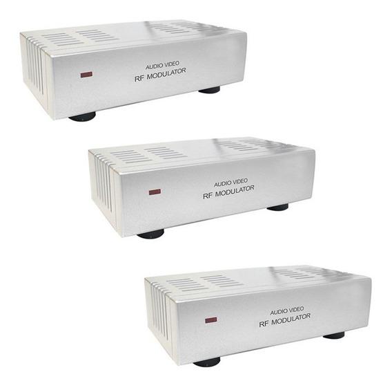 3 Modulador Rca Audio Video P/ Rf Parabolica Receptor Camera