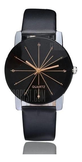 Relógio De Pulso Quartzo Analógico Pulseira Couro Moderno