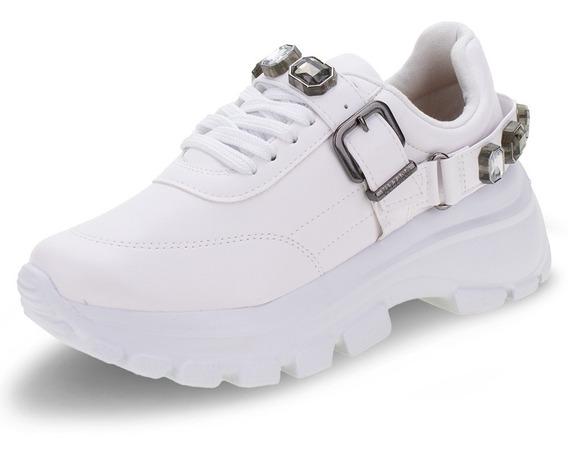 Tênis Vizzano Chunky Solado Grosso Dad Sneaker Branco Pedras