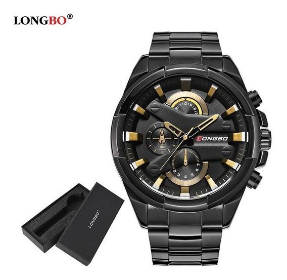 Relógio Masculino Pulseira De Aço Barato Bonito Prata Longbo
