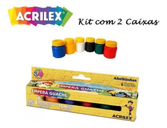 Kit 2 Caixas Tinta T. Guache Acrilex 6 Cores 15ml Oferta !