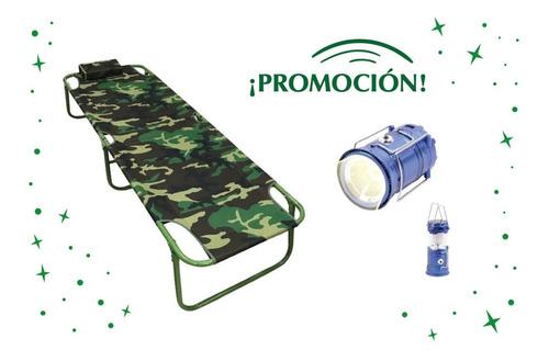 Catre Camping Plegable De Metal Muy Fuerte Y Linterna Farol