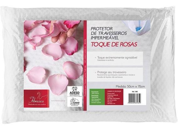 Protetor De Travesseiro Impermeável Fibrasca Toque De Rosas