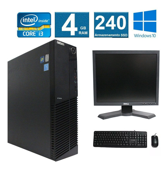 Computador Lenovo Thinkcenter M91 I3 4gb 240ssd Monitor 17