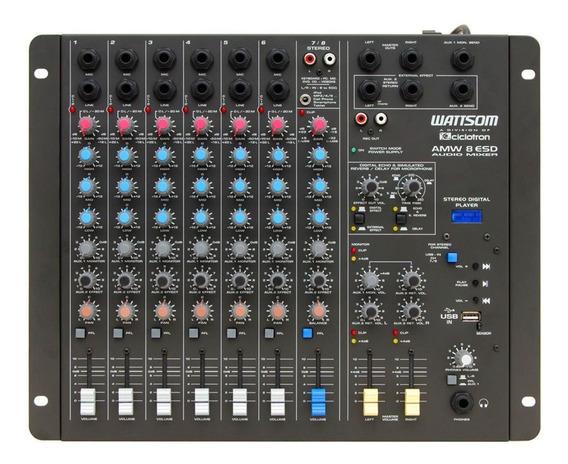 Mesa De Som 8 Ch Com Usbplay /fx /2aux Amw 8 Esd - Ciclotron