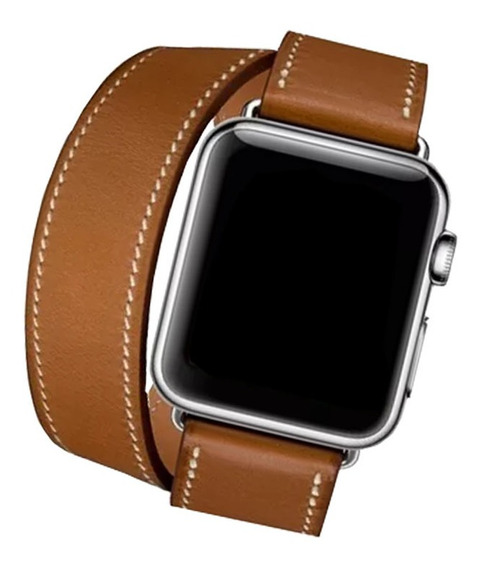 Pulseira Couro Double Tour Para Apple Watch Marrom 38mm/40mm